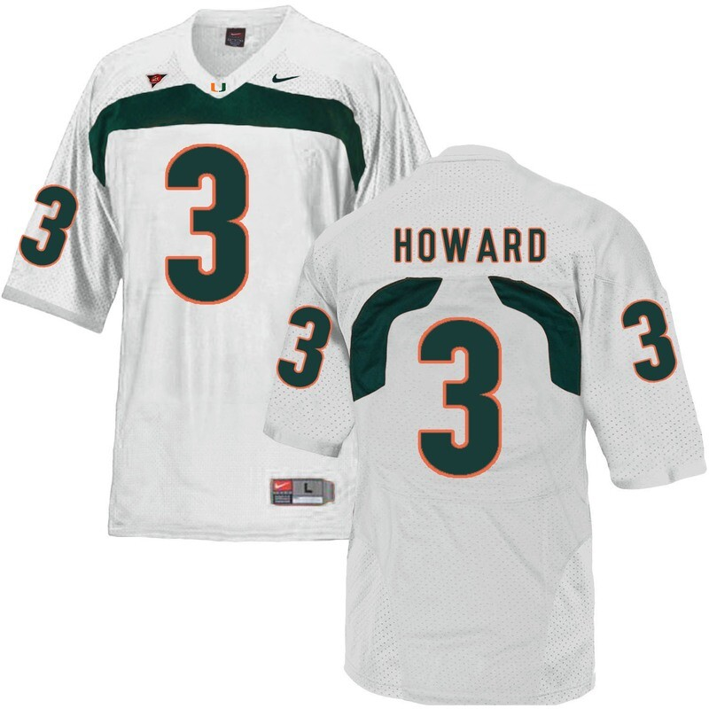 Miami Hurricanes #3 Howard NCAA College Football Jersey White
