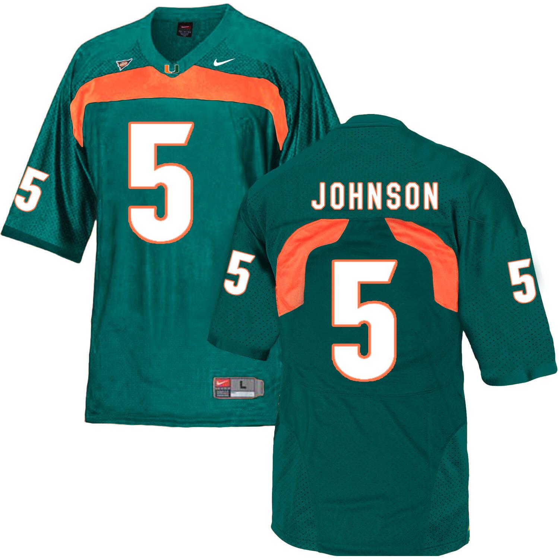 Miami Hurricanes #5 Johnson NCAA College Football Jersey Green