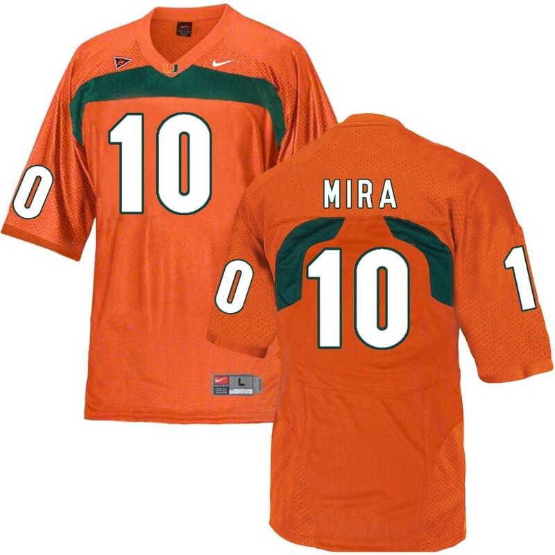 Miami Hurricanes #10 Mira NCAA College Football Jersey Orange
