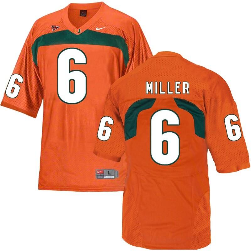 Miami Hurricanes #6 Miller NCAA College Football Jersey Orange