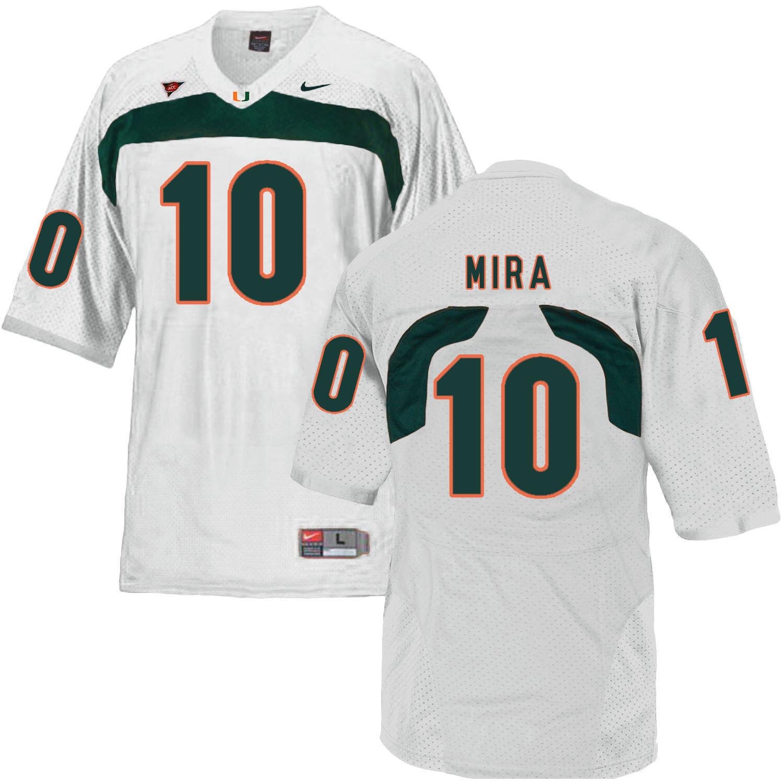 Miami Hurricanes #10 Mira NCAA College Football Jersey White