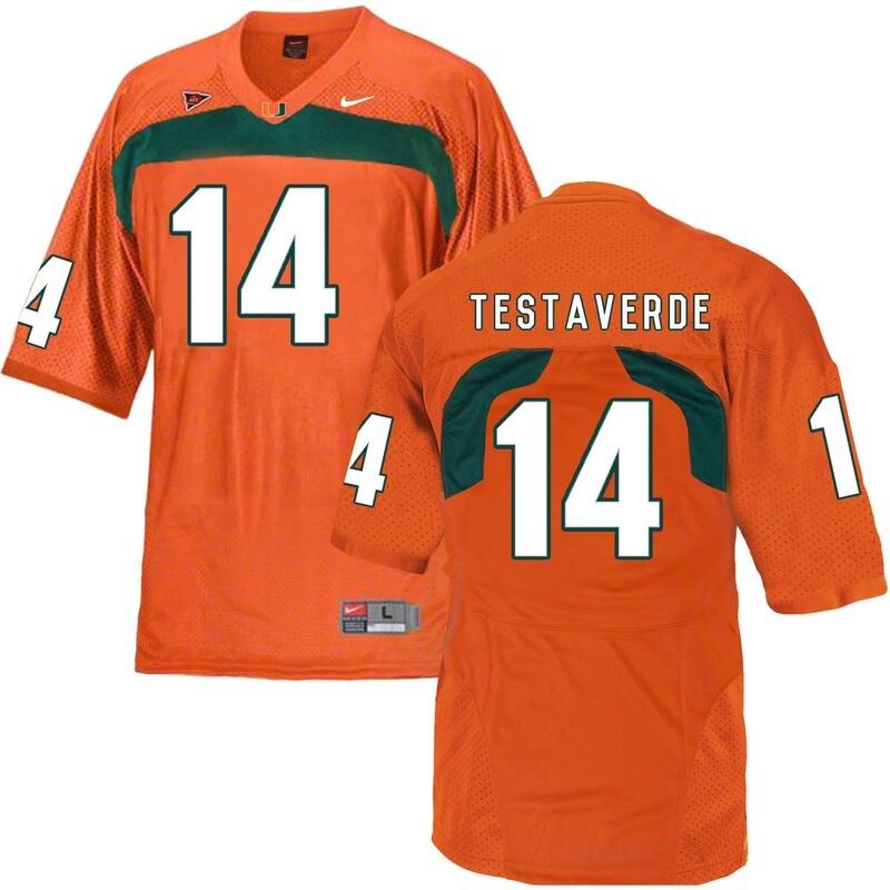 Miami Hurricanes #14 Testaverde NCAA College Football Jersey Orange