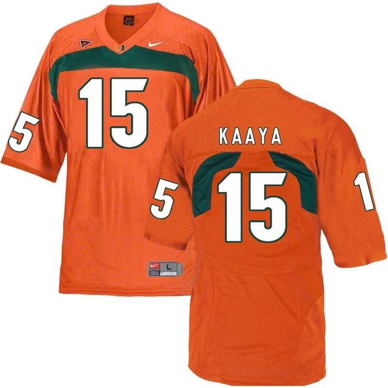 Miami Hurricanes #15 Kaaya NCAA College Football Jersey Orange