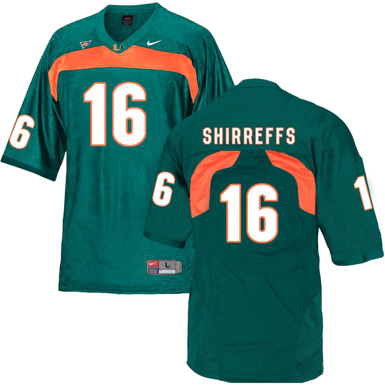 Miami Hurricanes #16 Shirreffs NCAA College Football Jersey Green