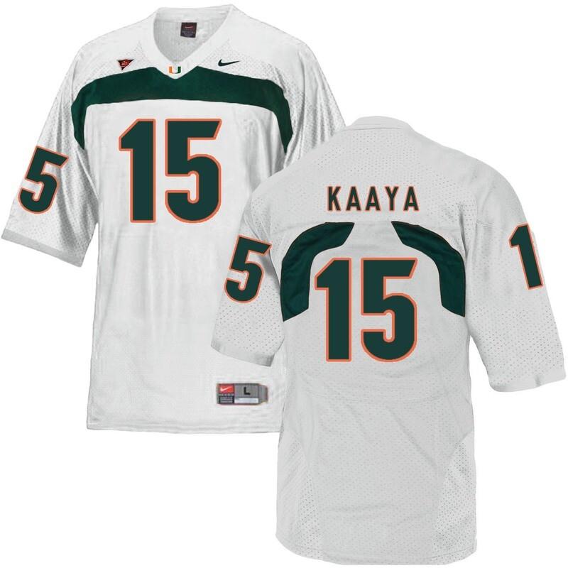 Miami Hurricanes #15 Kaaya NCAA College Football Jersey White