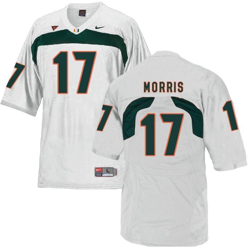 Miami Hurricanes #17 Morris NCAA College Football Jersey White