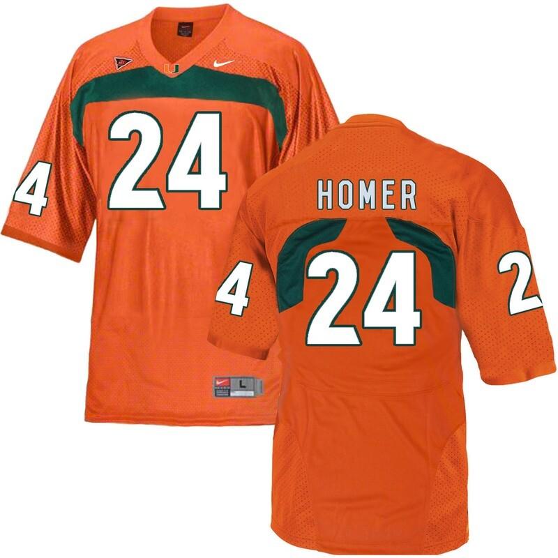 Miami Hurricanes #24 Homer NCAA College Football Jersey Orange