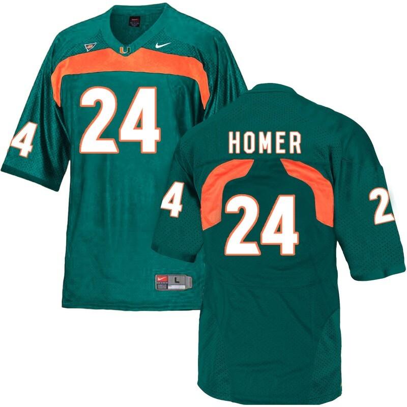 Miami Hurricanes #24 Homer NCAA College Football Jersey Green