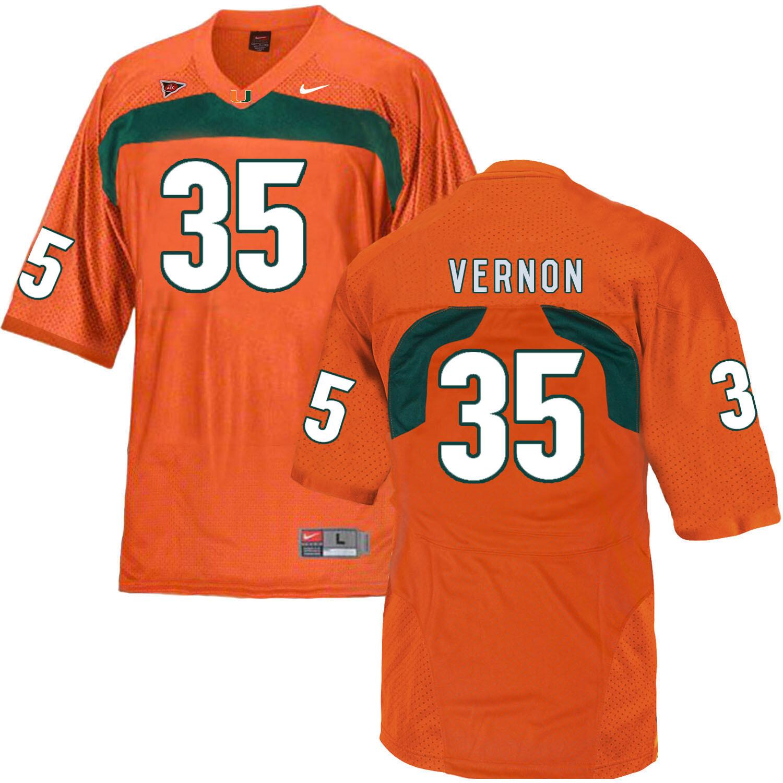 Miami Hurricanes #35 Vernon NCAA College Football Jersey Orange