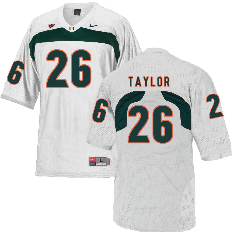 Miami Hurricanes #26 Sean Tayloy NCAA College Football Jersey White