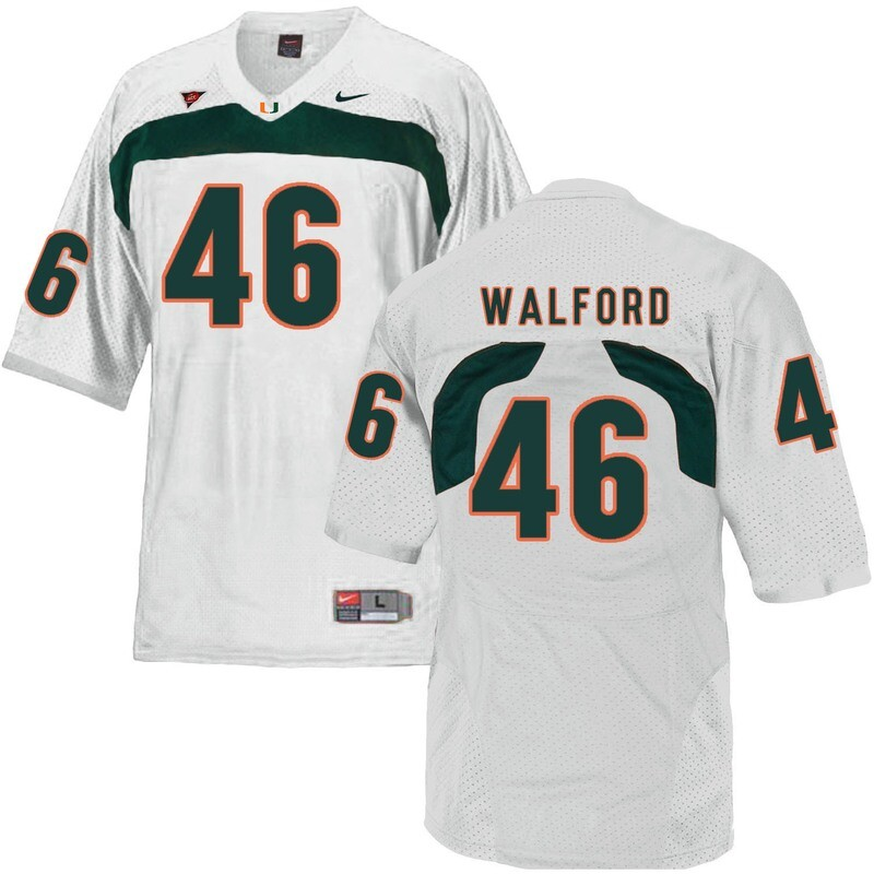 Miami Hurricanes #46 Walford NCAA College Football Jersey White