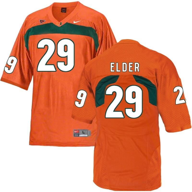 Miami Hurricanes #29 Elder NCAA College Football Jersey Orange