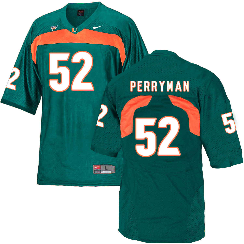 Miami Hurricanes #52 Perryman NCAA College Football Jersey Green