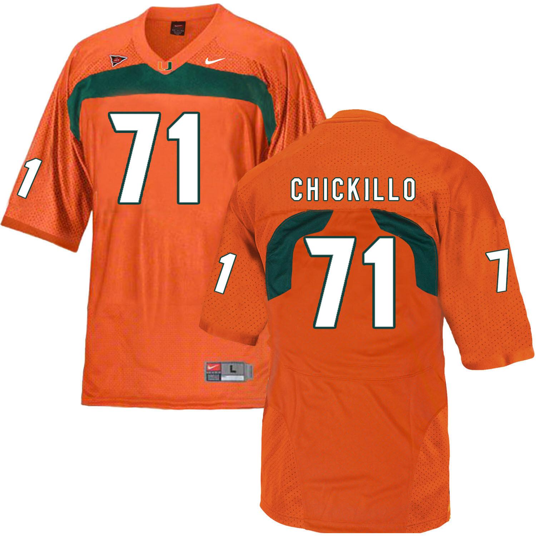 Miami Hurricanes #71 Chickillo NCAA College Football Jersey Orange