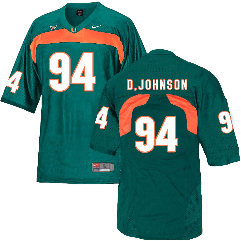 Miami Hurricanes #94  D. Johnson NCAA College Football Jersey Green