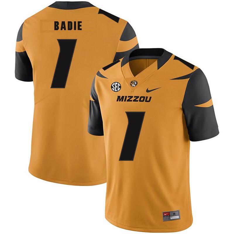 Missouri Tigers #1 Tyler Badie NCAA College Football Jersey Yellow