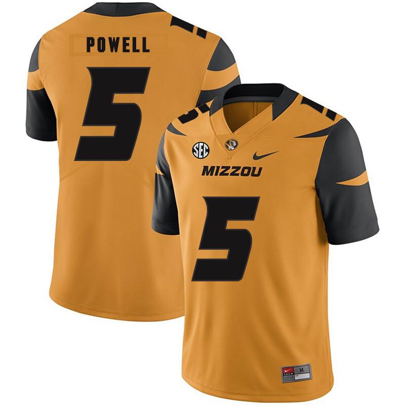 Missouri Tigers #5 Taylor Powell NCAA College Football Jersey Gold