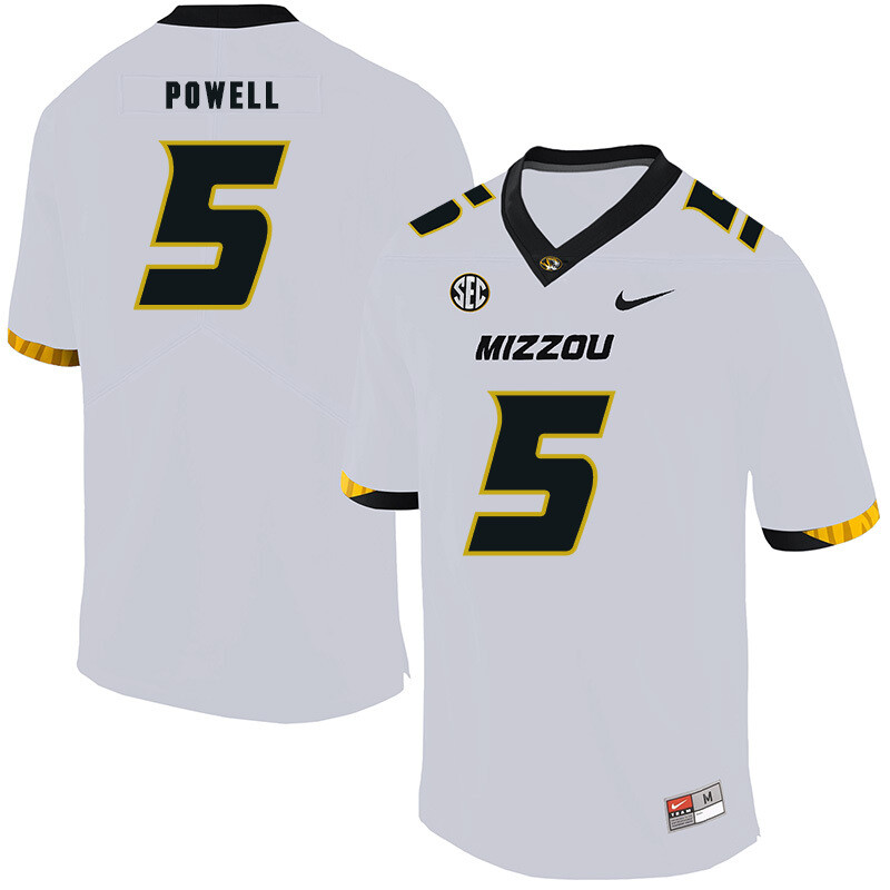 Missouri Tigers #5 Taylor Powell NCAA College Football Jersey White