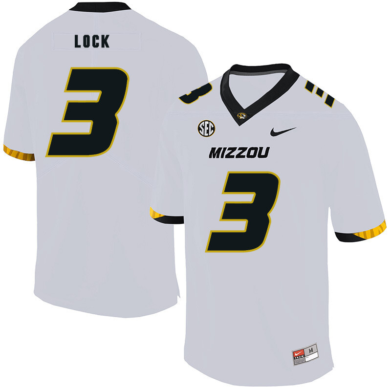 Missouri Tigers #3 Drew Lock NCAA College Football Jersey White