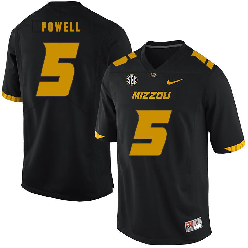 Missouri Tigers #5 Taylor Powell NCAA College Football Jersey Black