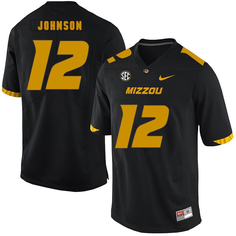 Missouri Tigers #12 Johnathon Johnson College Football Jersey Black