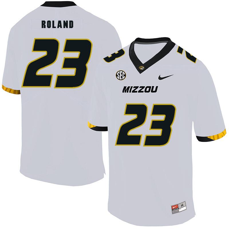 Missouri Tigers #23 Johnny Roland NCAA College Football Jersey White