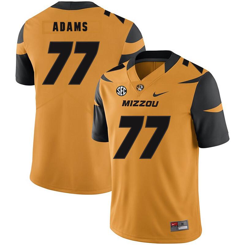 Missouri Tigers #77 Paul Adams NCAA College Football Jersey Gold