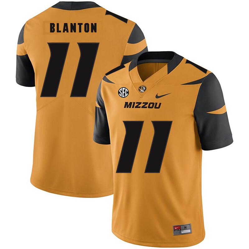 Missouri Tigers #11 Kendall Blanton College Football Jersey Gold