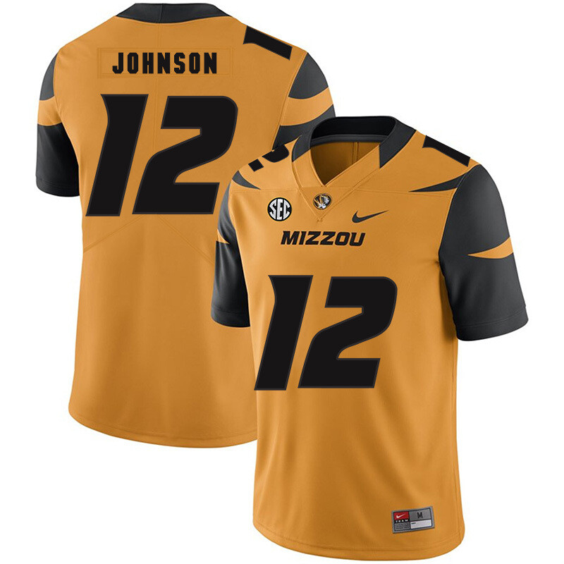 Missouri Tigers #12 Johnathon Johnson College Football Jersey Gold