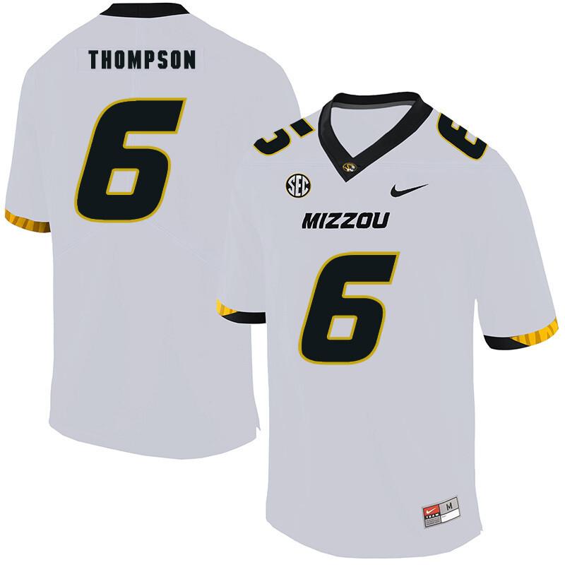 Missouri Tigers #6 Khmari Thompson College Football Jersey White