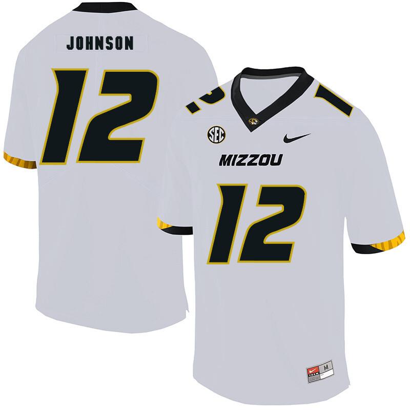 Missouri Tigers #12 Johnathon Johnson College Football Jersey White
