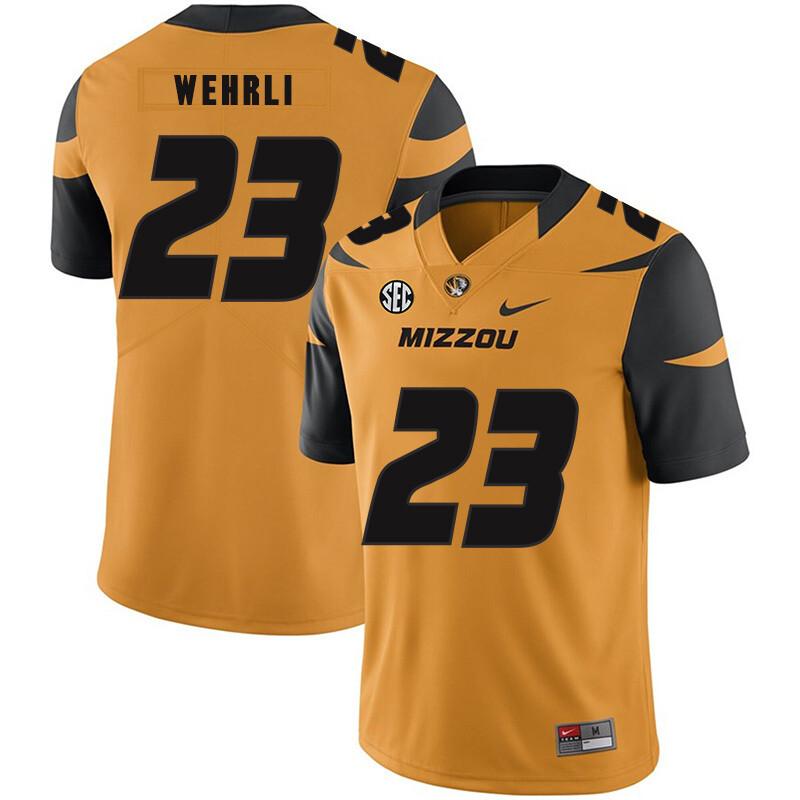 Missouri Tigers #23 Roger Wehrli NCAA College Football Jersey Gold