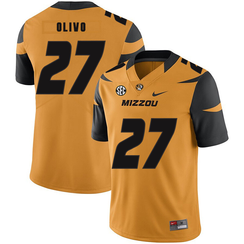 Missouri Tigers #27 Brock Olivo NCAA College Football Jersey Gold