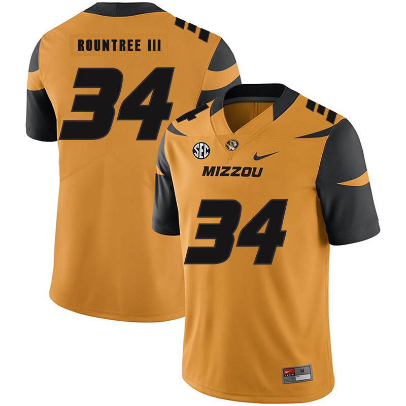 Missouri Tigers #34 Larry Rountree III College Football Jersey Gold