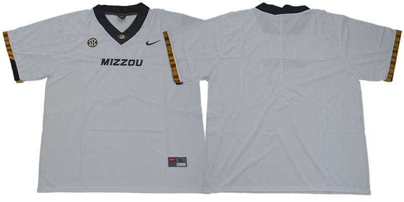 Missouri Tigers Blank NCAA College Football Jersey White