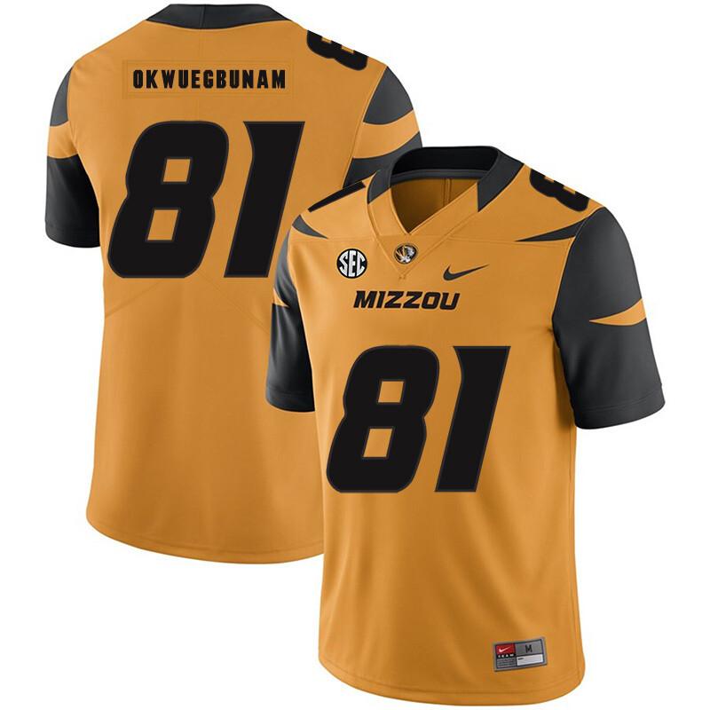 Missouri Tigers #81 Albert Okwuegbunam College Football Jersey Gold