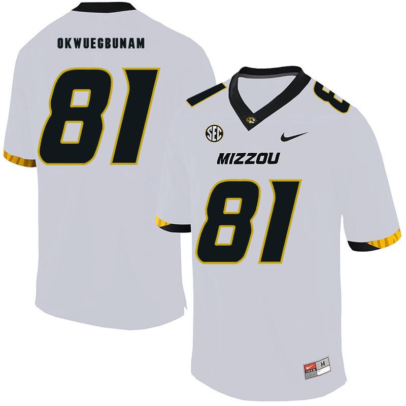 Missouri Tigers #81 Albert Okwuegbunam College Football Jersey White