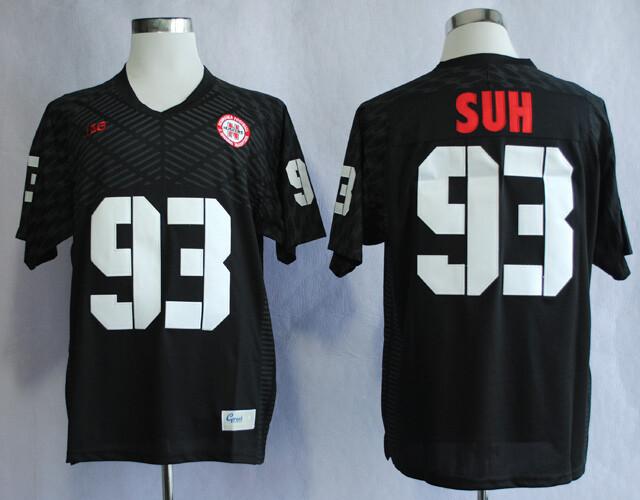 Nebraska Huskers #93 Ndamukong Suh College Football Jersey Black