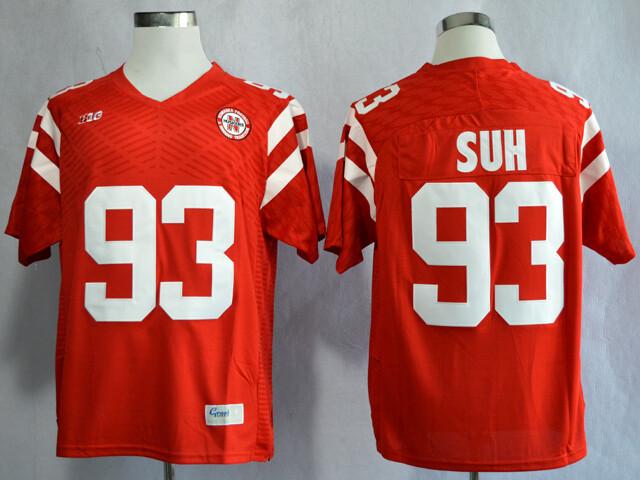Nebraska Huskers #93 Ndamukong Suh College Football Jersey Red