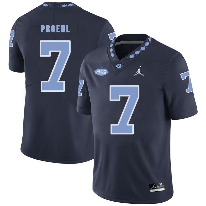 North Carolina Tar Heels #7 Austin Proehl NCAA Football Jersey Navy