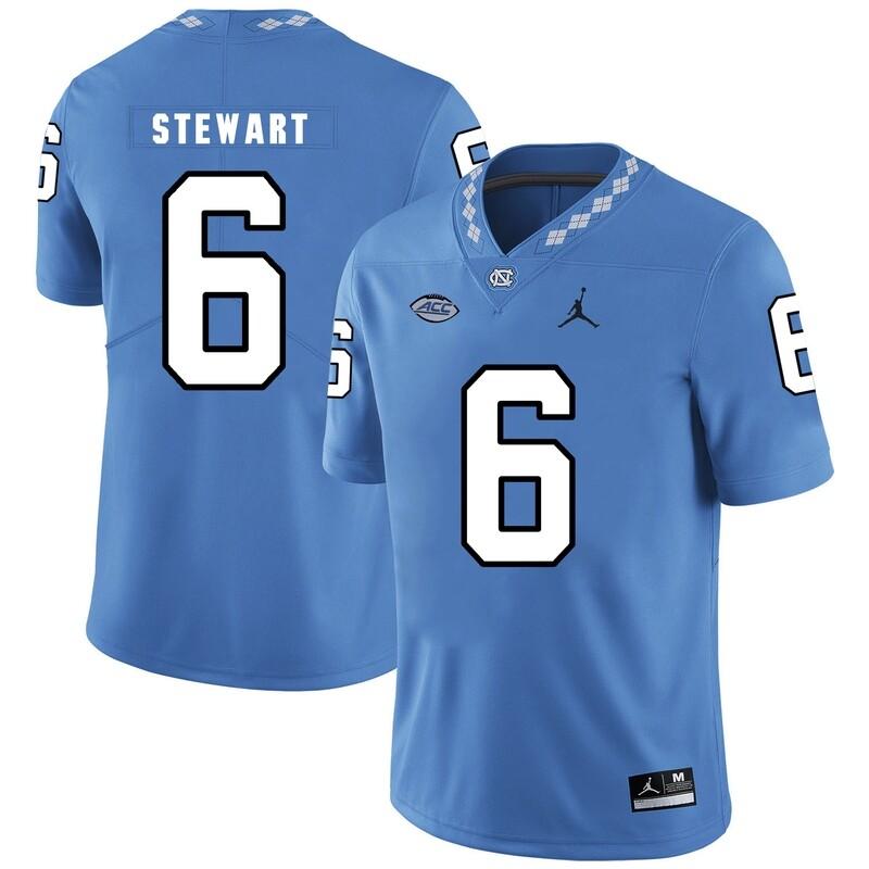 North Carolina Tar Heels #6 MJ Stewart NCAA Football Jersey Blue