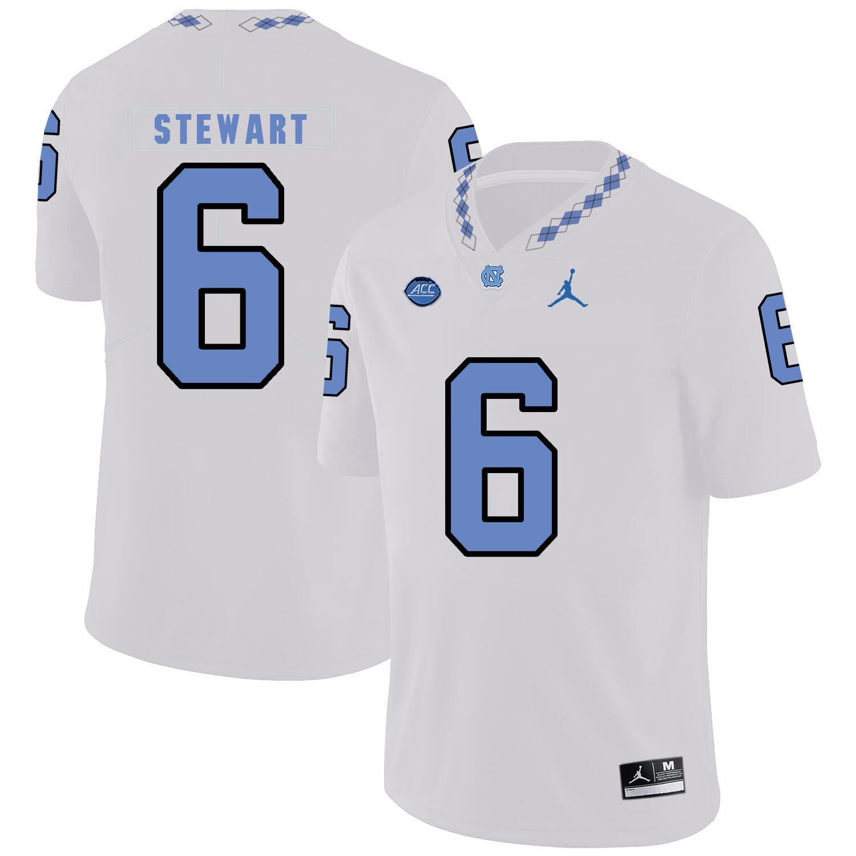 North Carolina Tar Heels #6 MJ Stewart NCAA Football Jersey White