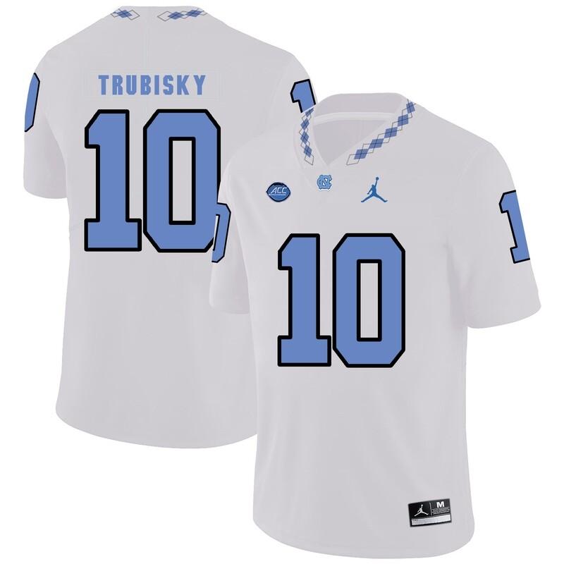 North Carolina Tar Heels #10 Mitchell Trubisky Football Jersey White