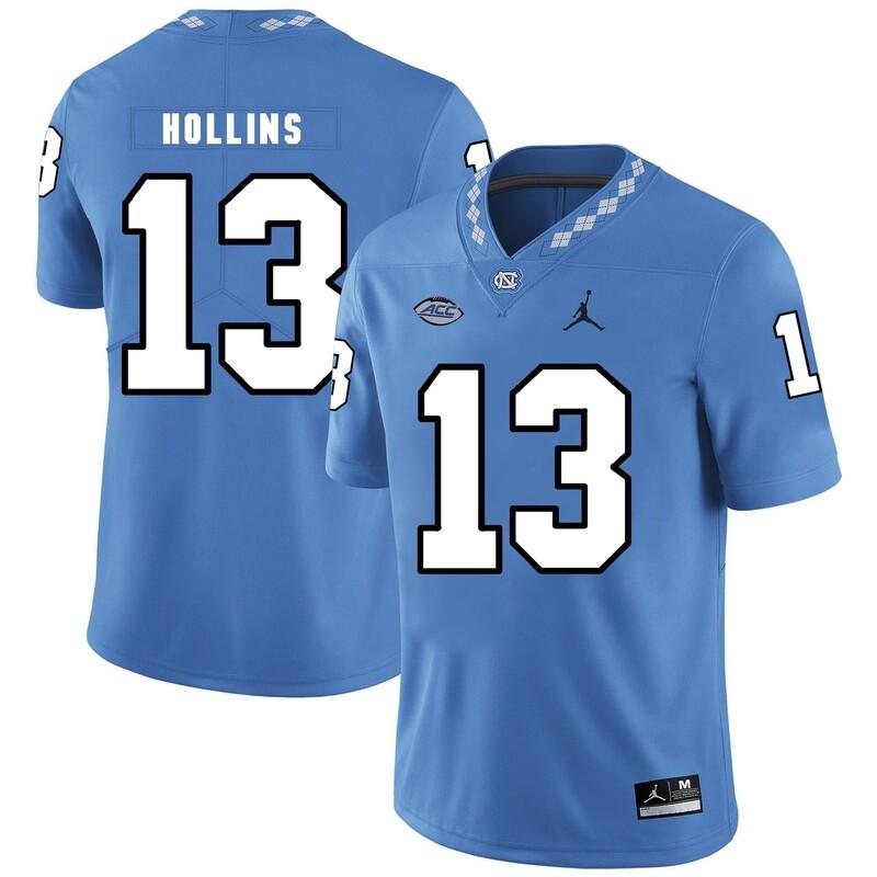 North Carolina Tar Heels #13 Mack Hollins NCAA Football Jersey Blue