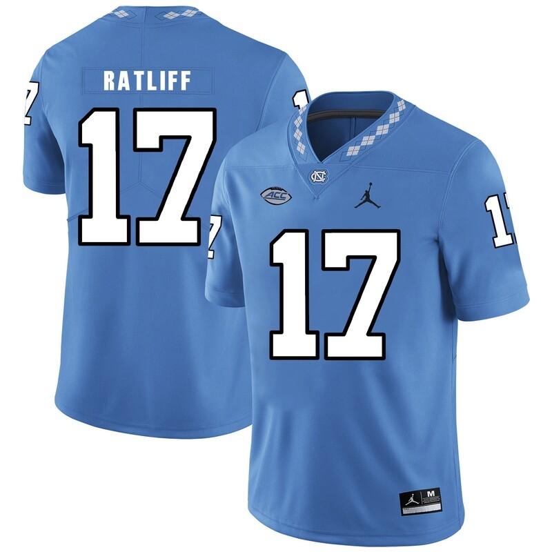 North Carolina Tar Heels #17 Anthony Ratliff Football Jersey Blue