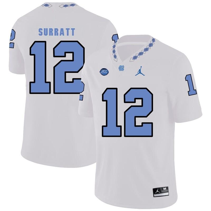 North Carolina Tar Heels #12 Chazz Surratt Football Jersey White