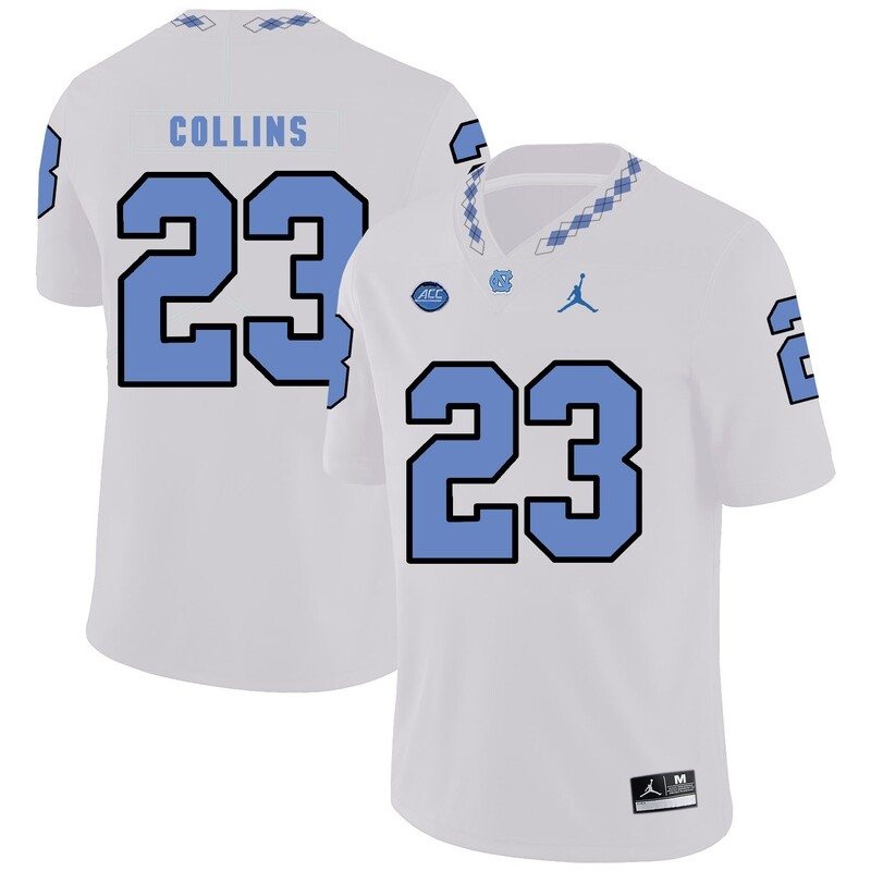 North Carolina Tar Heels #23 Cayson Collins Football Jersey White