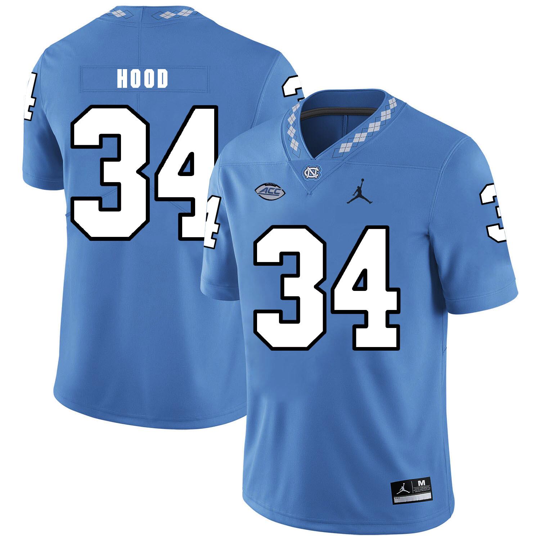 North Carolina Tar Heels #34 Elijah Hood Football Jersey Blue