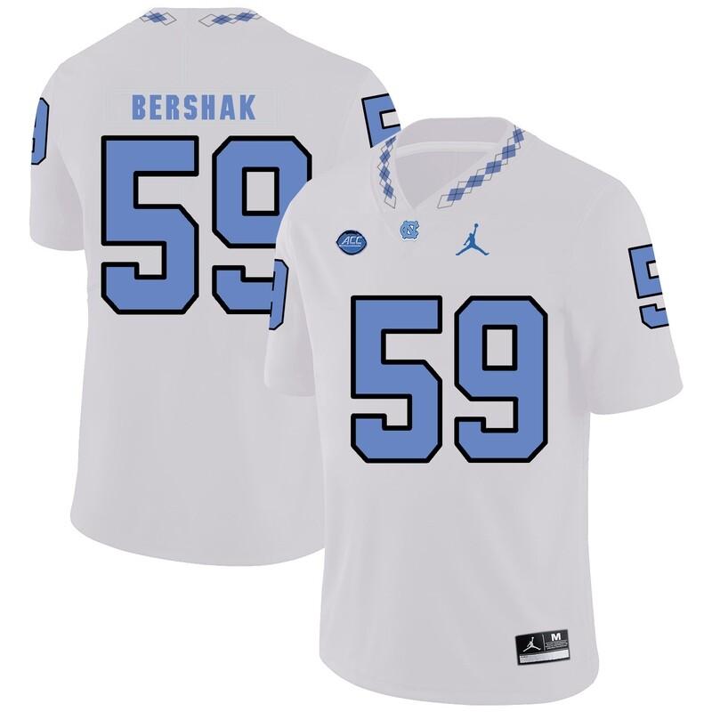 North Carolina Tar Heels #59 Andy Bershak Football Jersey White