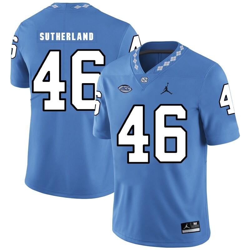 North Carolina Tar Heels #46 Bill Sutherland Football Jersey Blue